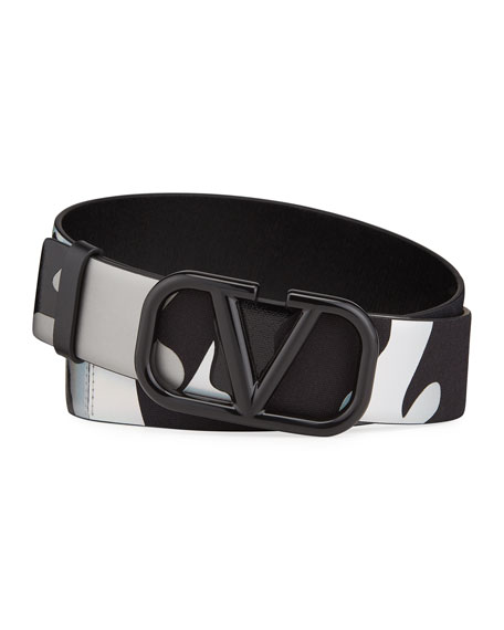 Valentino Men's Camo VLOGO Belt