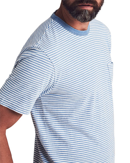 Faherty Men's Round-Neck Striped Pocket T-Shirt