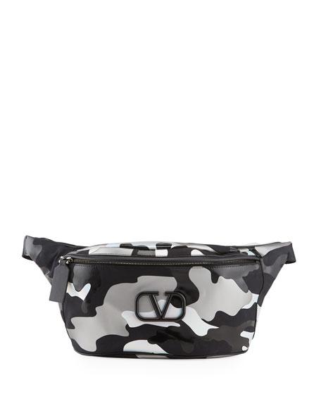 Valentino Men's Camouspace Small VLOGO Belt Bag