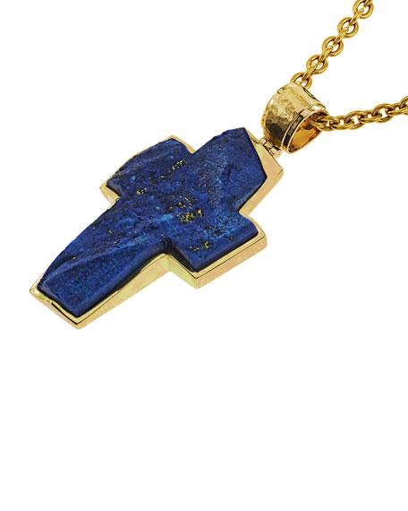 Jorge Adeler Men's 18K Yellow Gold Lapis Cross Pendant