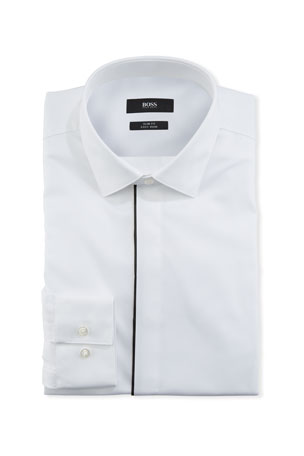 BOSS Men's Contrast-Trim Evening Dress Shirt