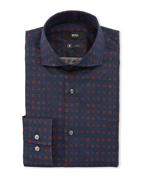BOSS Men's Diamond Travel Stretch Dress Shirt