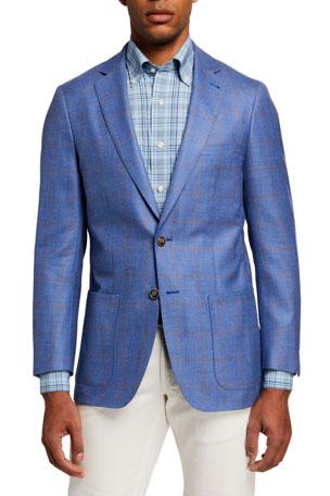 Peter Millar Men's Windowpane Soft Two-Button Jacket