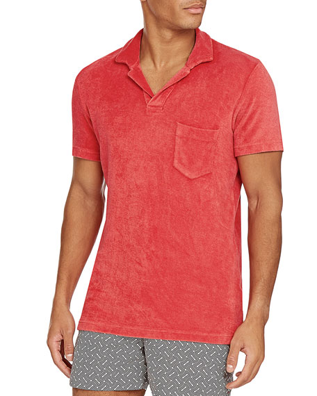 Orlebar Brown Men's Terry Towel Polo with Pocket
