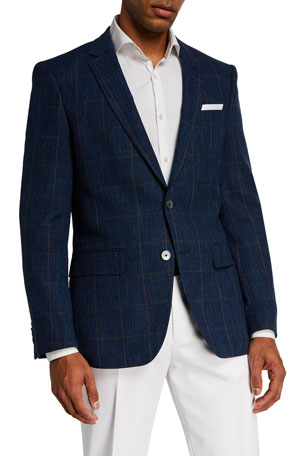BOSS Men's Hutsons Windowpane Wool-Blend Sport Jacket