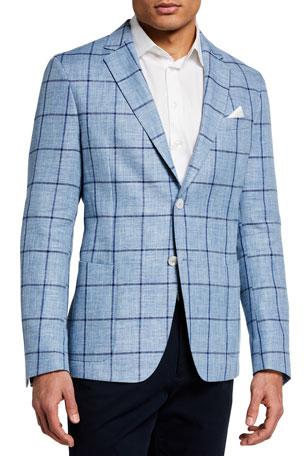 BOSS Men's Nold Linen-Blend Windowpane Sport Jacket