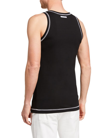 Image 2 of 2: Dolce & Gabbana Men's Jersey Tank Top w/ Contrast Stitching