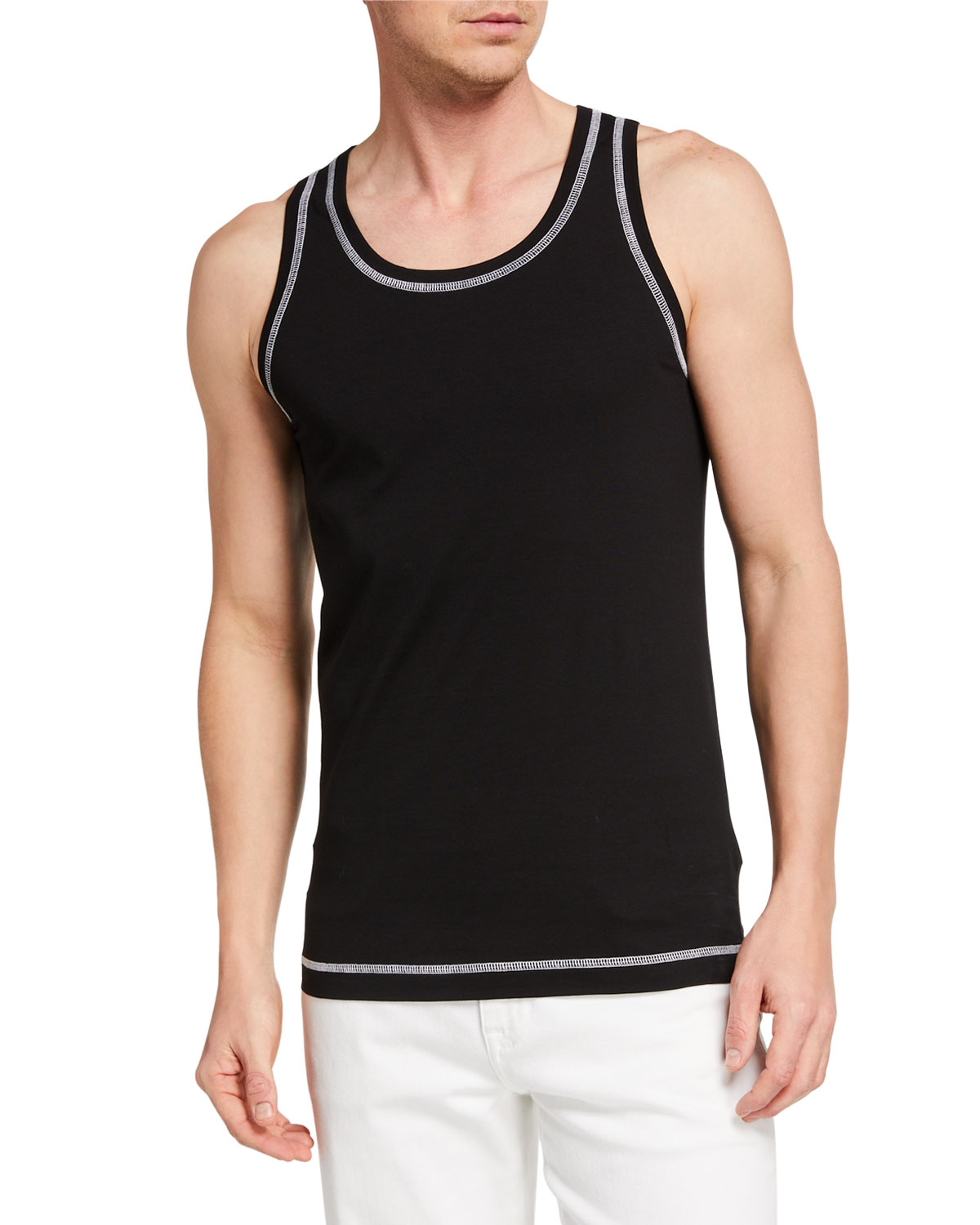 Dolce & Gabbana Men's Jersey Tank Top w/ Contrast Stitching