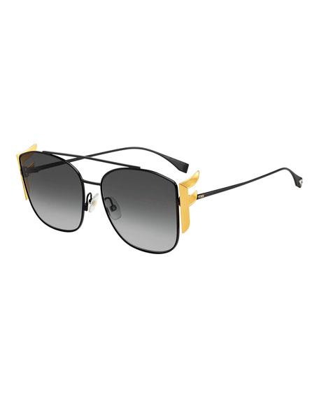 Fendi Men's Swarovski FF Square Metal Sunglasses