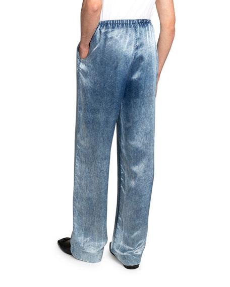Balenciaga Men's Denim-Printed Satin Pants