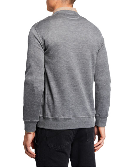 Image 2 of 3: Brunello Cucinelli Men's Silk-Blend Sweatshirt