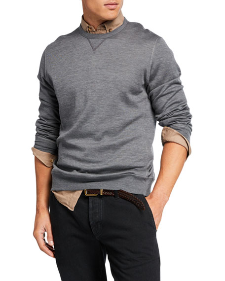 Image 3 of 3: Brunello Cucinelli Men's Silk-Blend Sweatshirt