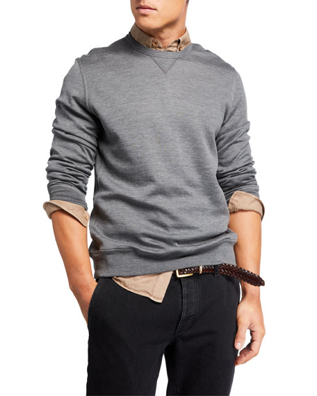 Image 1 of 3: Brunello Cucinelli Men's Silk-Blend Sweatshirt