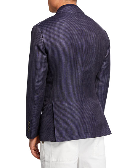 Brunello Cucinelli Men's Houndstooth Double-Face Two-Button Jacket