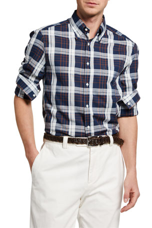 Brunello Cucinelli Men's Double-Check Plaid Sport Shirt