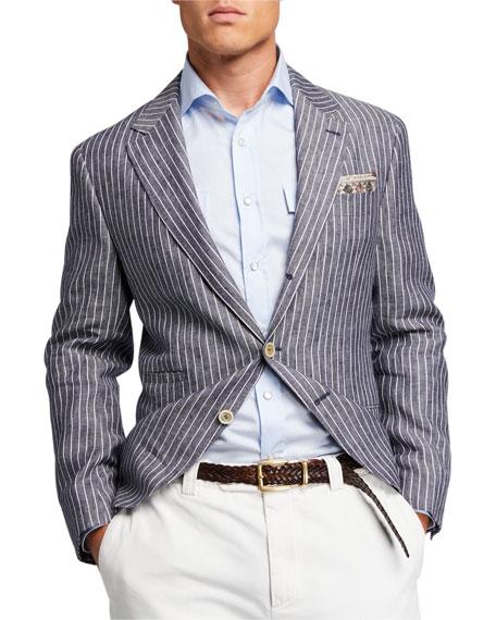 Brunello Cucinelli Men's Pinstriped Three-Button Linen Jacket