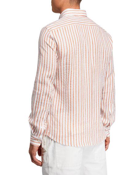 Brunello Cucinelli Men's Speckled Striped Linen Sport Shirt