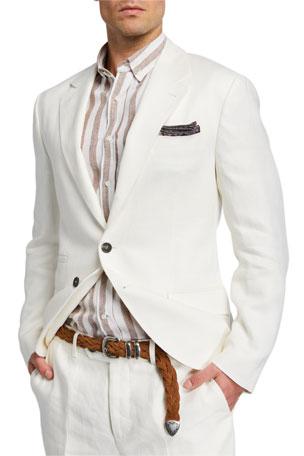 Brunello Cucinelli Men's Two-Piece Chevron Linen Suit