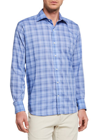 Peter Millar Men's Marina Chambray Plaid Sport Shirt