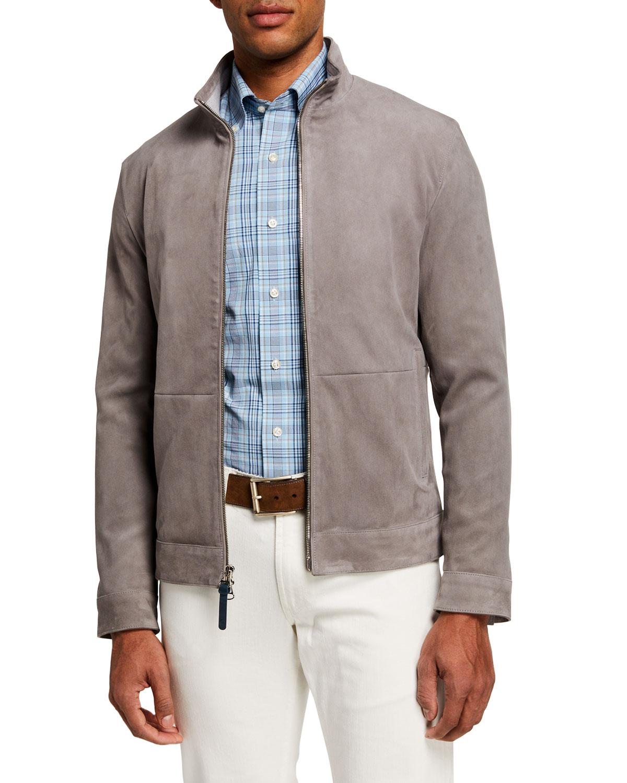 Peter Millar Men's Springsails Stretch Suede Blouson Jacket