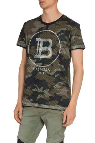 Balmain Men's Logo Graphic Mesh T-Shirt