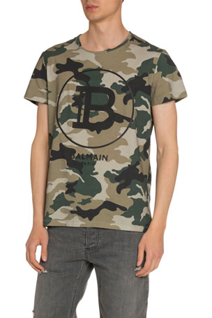 Balmain Men's Logo Graphic Camo T-Shirt