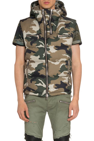 Balmain Men's Hooded Camo Zip-Front Vest