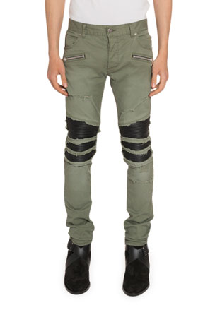 Balmain Men's Faux-Leather Inset Twill Pants