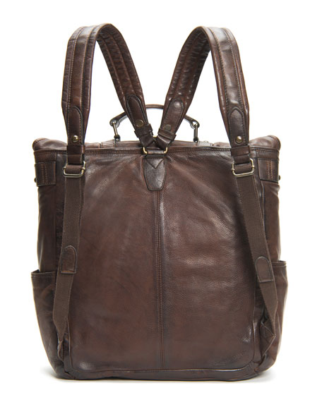 Frye Men's Murray Antiqued Leather Buckle Backpack