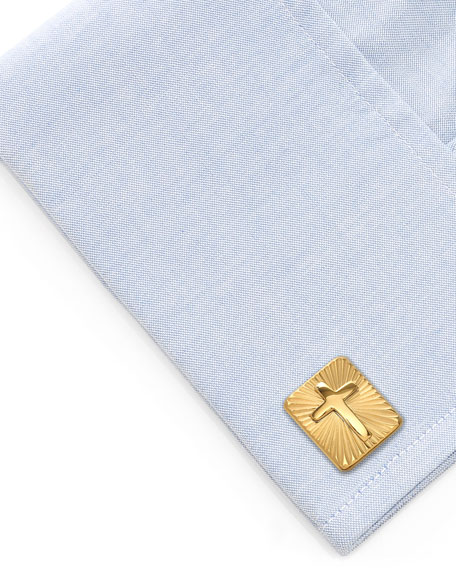 Cufflinks Inc. Men's Radiant Cross Rectangle Cufflinks