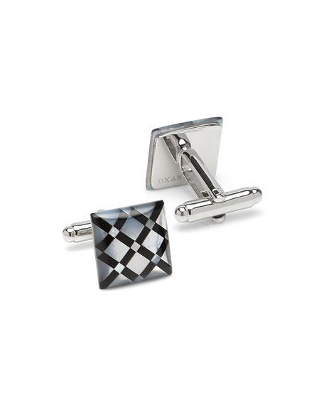 Cufflinks Inc. Men's Mother-of-Pearl Diamond-Pattern Cufflinks