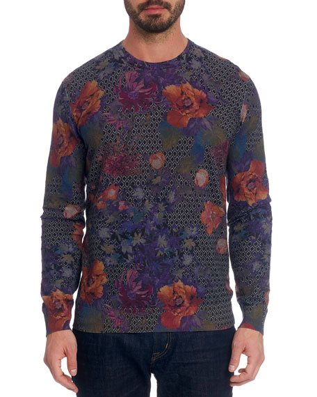 Robert Graham T-shirts Men's Hawkeye Floral Linen-Cotton T-Shirt
