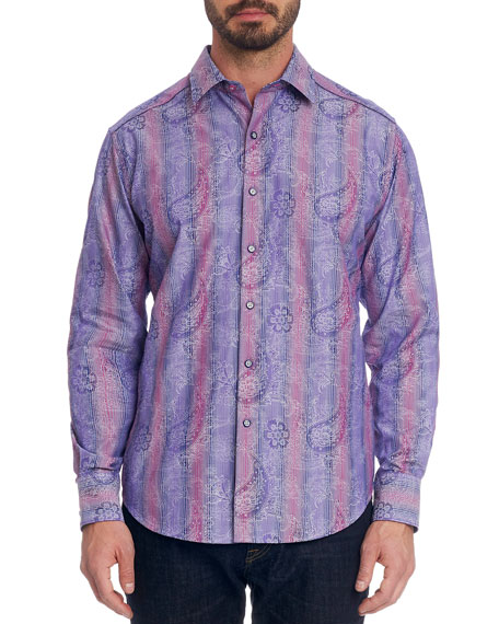 Robert Graham T-shirts Men's Reverb Striped Paisley Sport Shirt