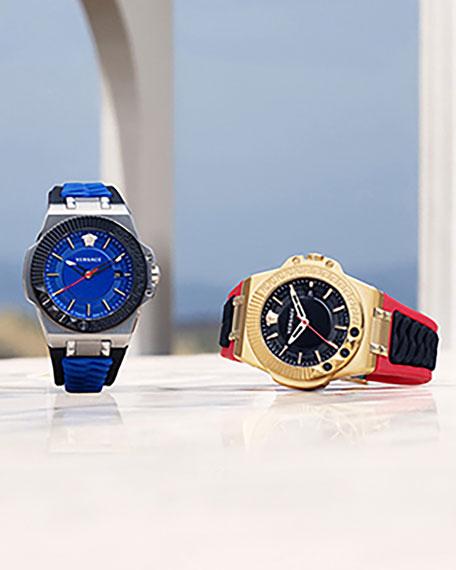 Versace Men's 45mm Medusa/Greek Key Rubber Chain Watch