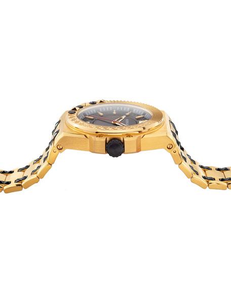Versace Men's 45mm Studded Yellow Gold IP Bracelet Watch