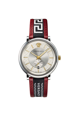 Versace Men's 42mm Guilloche Greek Key Leather Watch