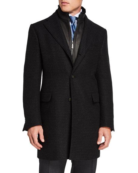 Corneliani Men's Tonal Check Cashmere Jacket w/ Fur-Trim Removable Chest Piece