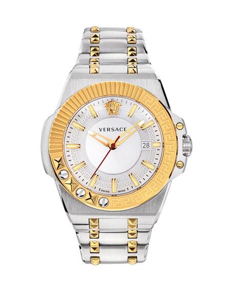 Versace Men's 45mm Studded Stainless Steel/Gold IP Bracelet Watch