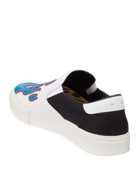 Amiri Men's Canvas Slip-On Sneakers w/ Leather Flames