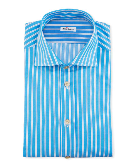 Kiton Men's Striped Cotton Dress Shirt