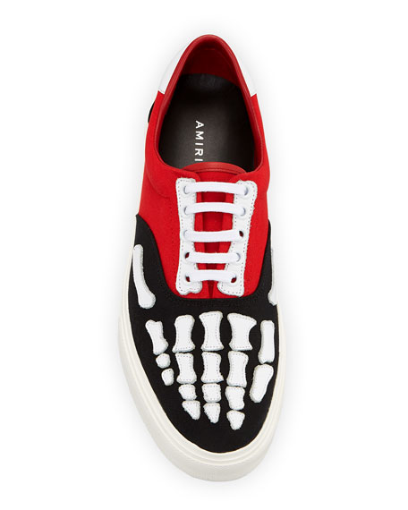Amiri Men's Canvas & Leather Skeleton-Toe Sneakers