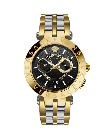 Versace Men's 46mm Medusa/Greek Key IP Gold Bracelet Watch