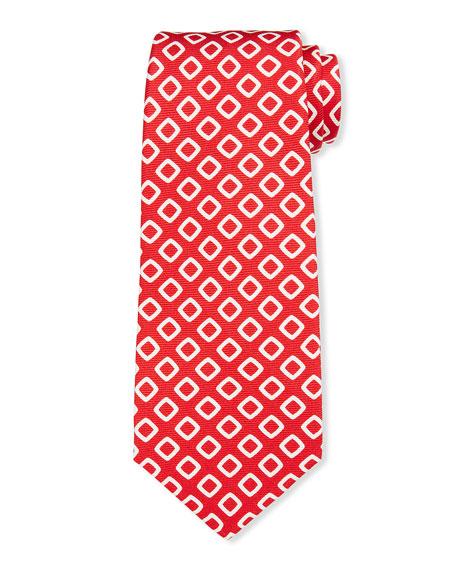 Kiton Men's White Boxes Silk Tie