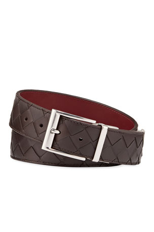 Bottega Veneta Men's Cintura Reversible Intrecciato Leather Belt