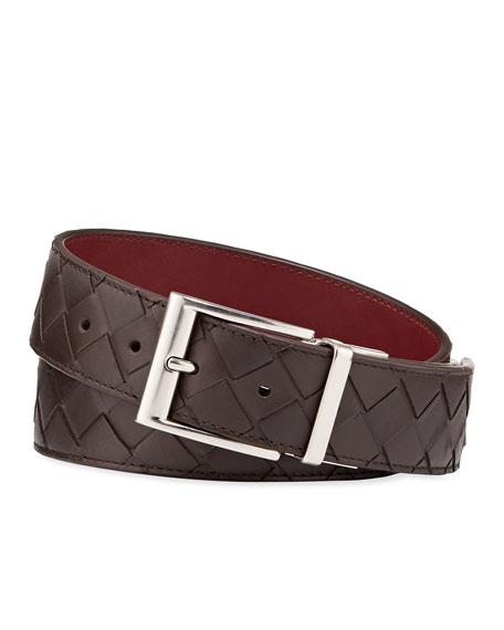Bottega Veneta Men's Cintura Reversible Intrecciato Leather Belt