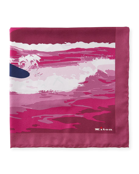 Kiton Men's Surfer Silk Pocket Square
