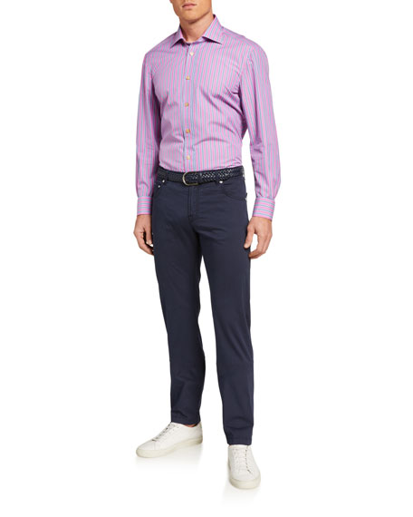 Kiton Men's Solid 5-Pocket Stretch Pants, Navy