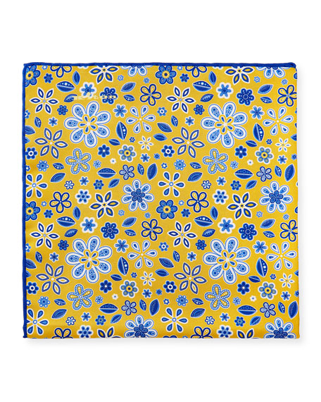 Kiton Men's Flowers & Leaves Silk Pocket Square