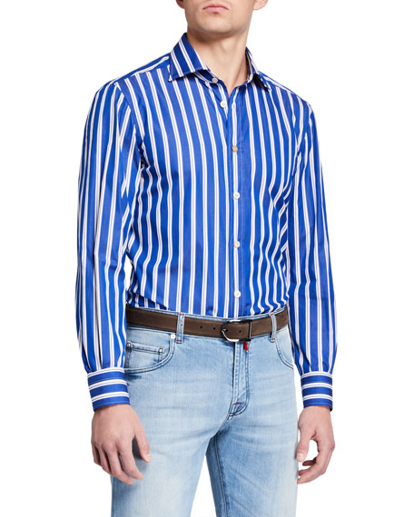 Kiton Dresses Men's Double Stripe Dress Shirt