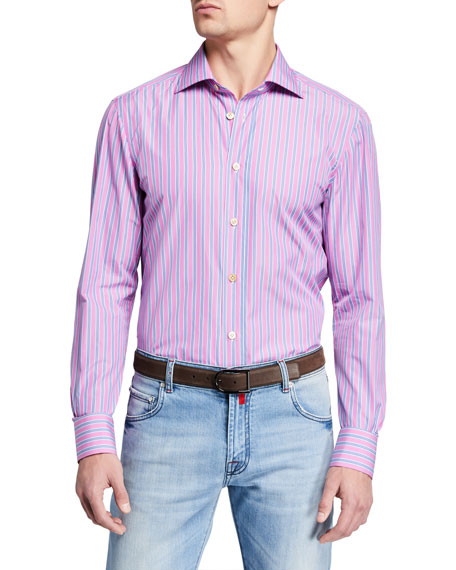 Kiton Dresses Men's Multi Stripe Dress Shirt